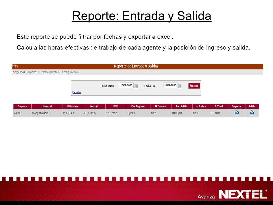 Reporte: Entrada y Salida Este reporte se puede filtrar por fechas y exportar a excel. Calcula las horas efectivas de trabajo de cada agente y la posi