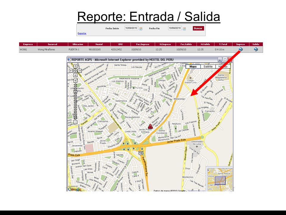 Reporte: Entrada / Salida