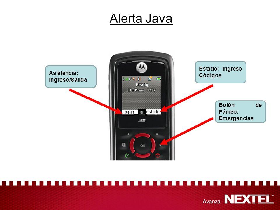 Alerta Java Asistencia: Ingreso/Salida Estado: Ingreso Códigos Botón de Pánico: Emergencias