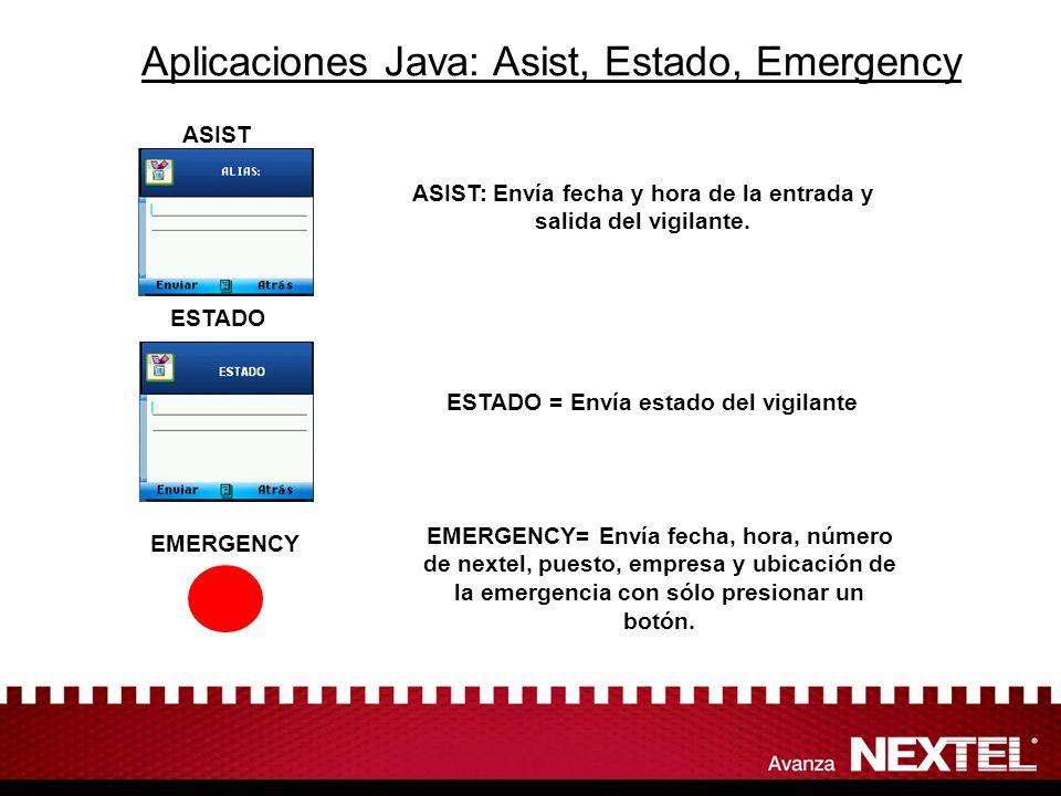 Aplicaciones Java: Asist, Estado, Emergency ASIST ESTADO = Envía estado del vigilante ASIST: Envía fecha y hora de la entrada y salida del vigilante.