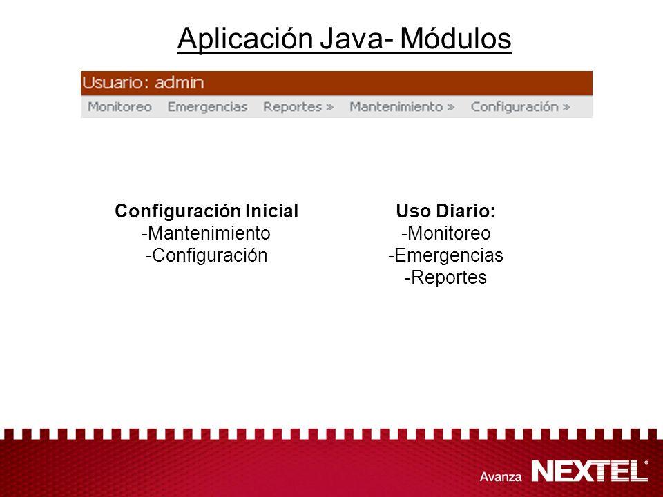 Aplicación Java- Módulos Configuración Inicial -Mantenimiento -Configuración Uso Diario: -Monitoreo -Emergencias -Reportes