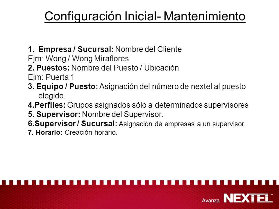 Configuración Inicial- Mantenimiento 1.Empresa / Sucursal: Nombre del Cliente Ejm: Wong / Wong Miraflores 2. Puestos: Nombre del Puesto / Ubicación Ej