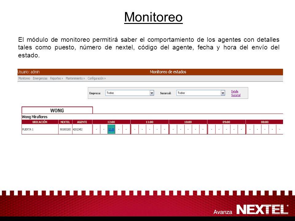 Monitoreo El módulo de monitoreo permitirá saber el comportamiento de los agentes con detalles tales como puesto, número de nextel, código del agente,