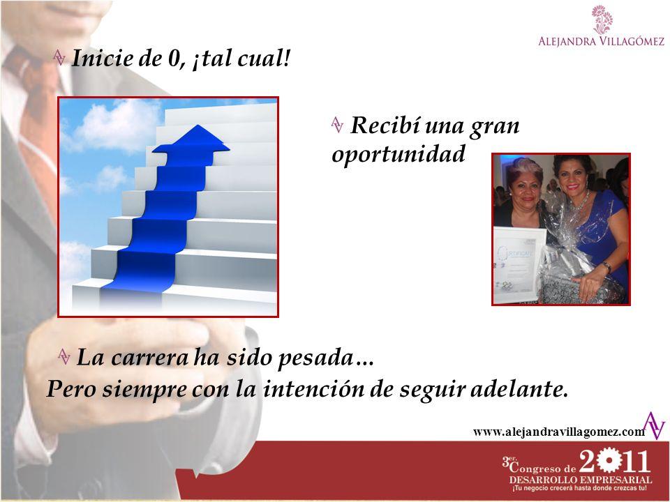 www.alejandravillagomez.com Inicie de 0, ¡tal cual! La carrera ha sido pesada… Pero siempre con la intención de seguir adelante. Recibí una gran oport