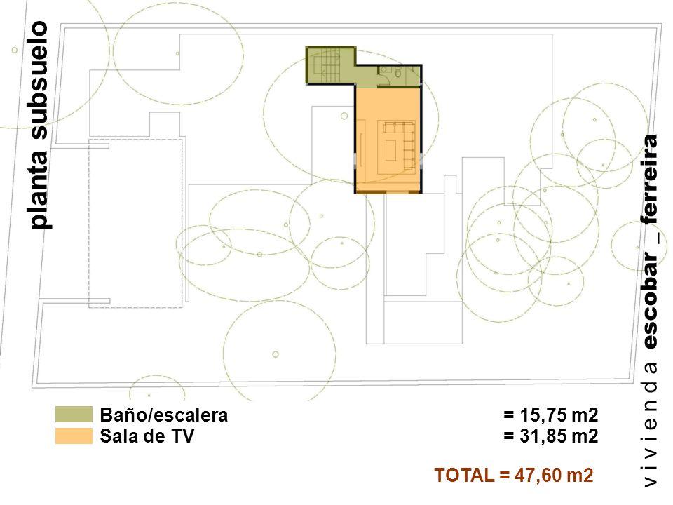 General= 79,54 m2 TOTAL = 575,72 m2 Planta subsuelo = 47,60 m2 Planta alta = 180,76 m2 Planta baja = 267,82 m2 v i v i e n d a escobar _ ferreira resumen