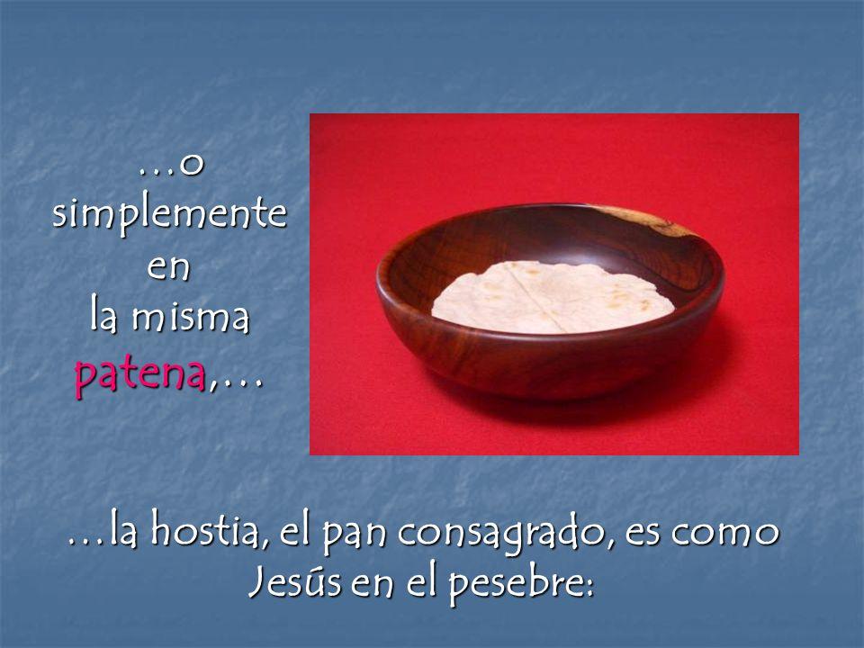 …o simplemente en la misma patena,… …la hostia, el pan consagrado, es como Jesús en el pesebre:
