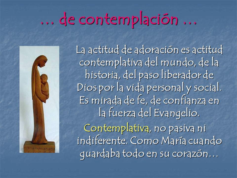 … de contemplación … La actitud de adoración es actitud contemplativa del mundo, de la historia, del paso liberador de Dios por la vida personal y soc