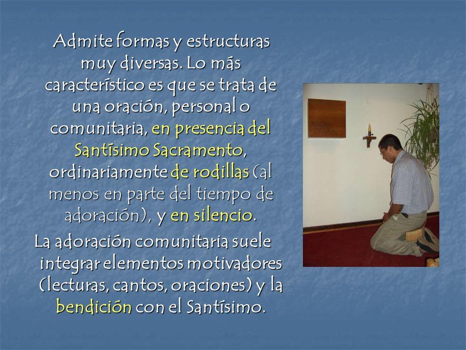 Admite formas y estructuras muy diversas. Lo más característico es que se trata de una oración, personal o comunitaria, en presencia del Santísimo Sac