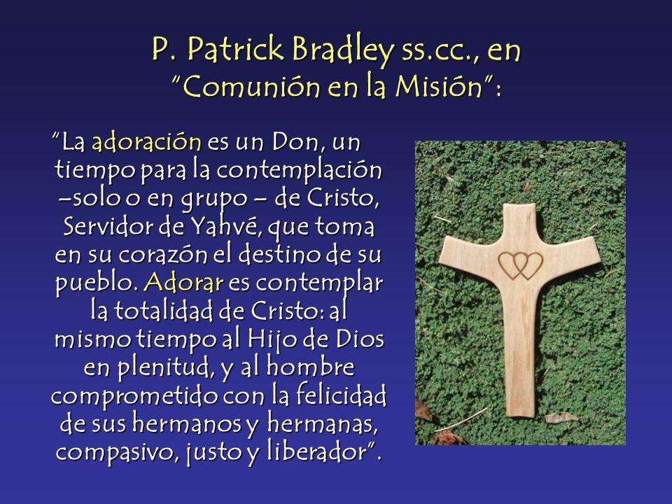 P. Patrick Bradley ss.cc., en Comunión en la Misión: La adoración es un Don, un tiempo para la contemplación –solo o en grupo – de Cristo, Servidor de