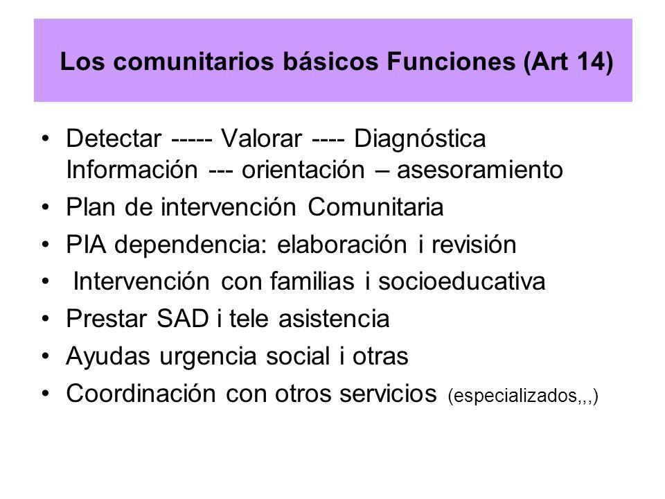 Los comunitarios básicos Funciones (Art 14) Detectar ----- Valorar ---- Diagnóstica Información --- orientación – asesoramiento Plan de intervención C