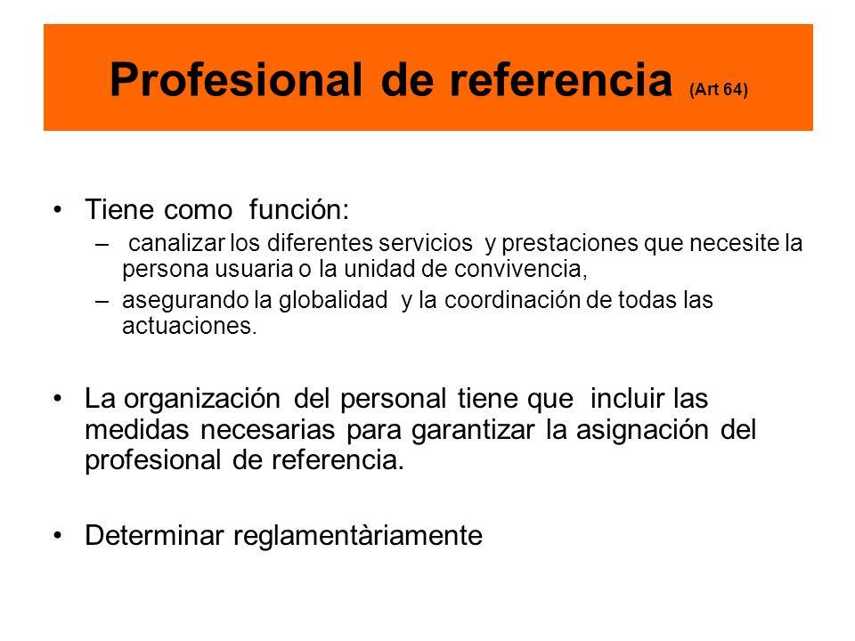 Profesional de referencia (Art 64) Tiene como función: – canalizar los diferentes servicios y prestaciones que necesite la persona usuaria o la unidad