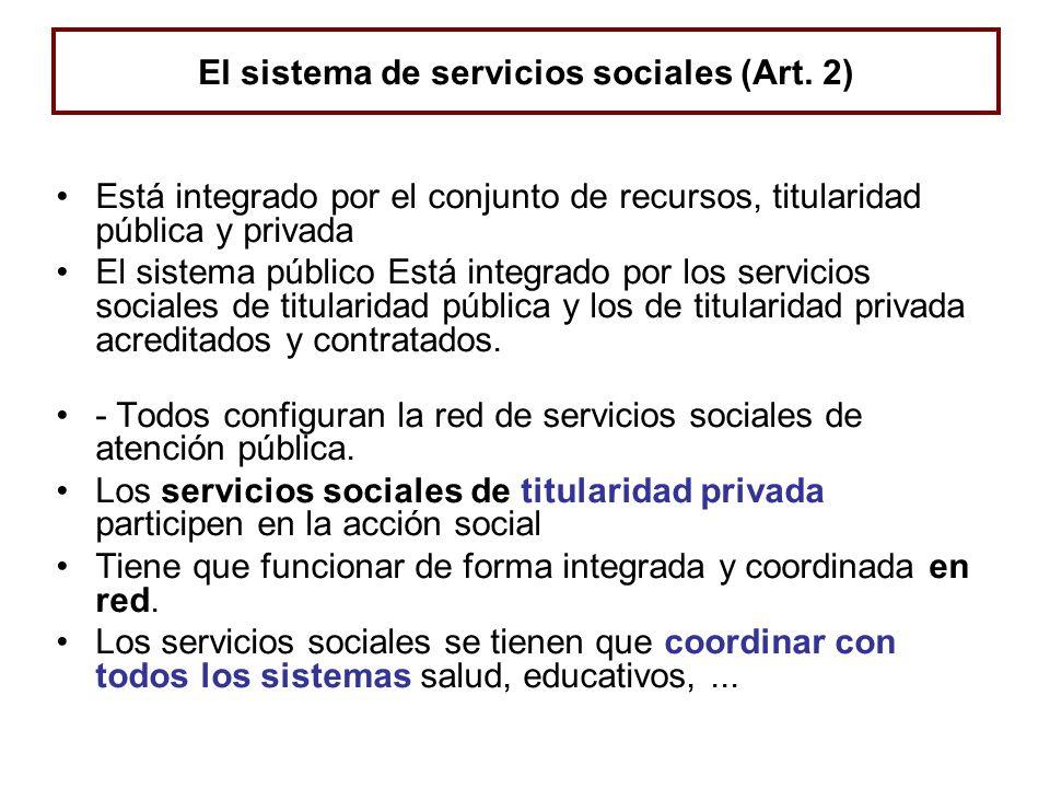 El sistema de servicios sociales (Art. 2) Está integrado por el conjunto de recursos, titularidad pública y privada El sistema público Está integrado