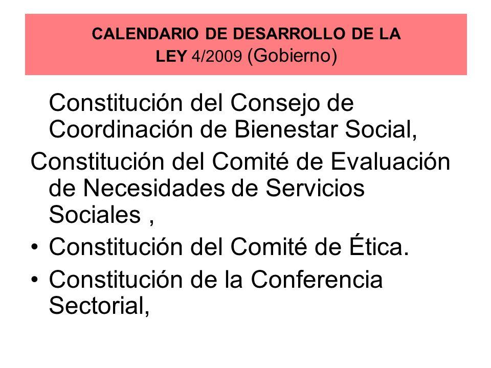 Constitución del Consejo de Coordinación de Bienestar Social, Constitución del Comité de Evaluación de Necesidades de Servicios Sociales, Constitución