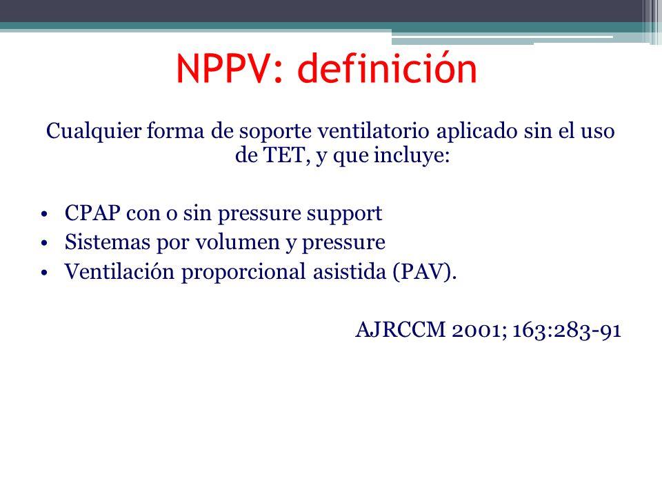 Factores asociados con éxito o falla de la VMNI Alta PaCO2 con baja gradienteA-a O2 Alto APACHE pH 7.25 – 7.35 Mejoría en pH, paCO2 y FR a la 1º Secreciones Hora de inicio de VMNI copiosas Buen nivel de conciencia Edentados Desnutricón Confusión y compromiso sensorio BTS Guideline VMNI ; Thorax 2002 ; 57:192–211 ÉXITO FALLA
