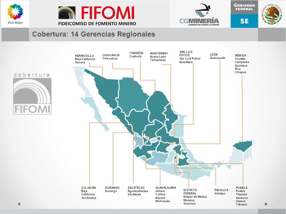 Cobertura: 14 Gerencias Regionales c o b e r t u r a HERMOSILLO Baja California Sonora CHIHUAHUA Chihuahua TORREÓN Coahuila MONTERREY Nuevo León Tamau