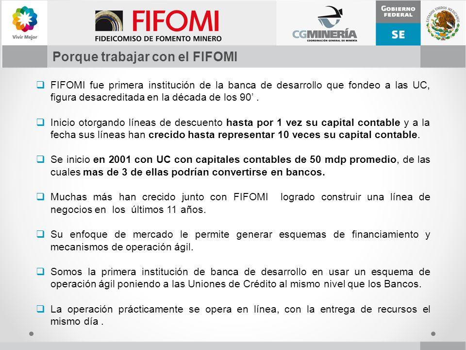 FIFOMI fue primera institución de la banca de desarrollo que fondeo a las UC, figura desacreditada en la década de los 90. Inicio otorgando líneas de
