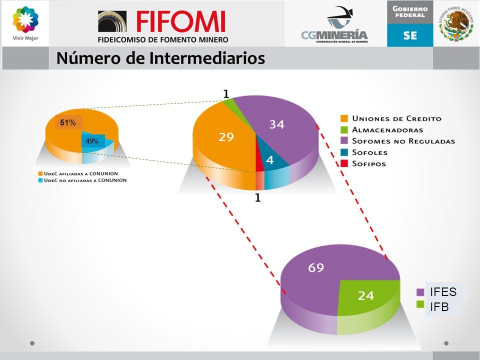 Número de Intermediarios IFES IFB 51% 49%
