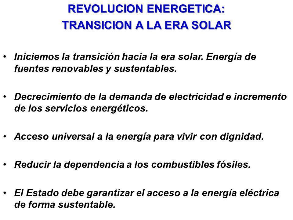 REVOLUCION ENERGETICA: TRANSICION A LA ERA SOLAR Iniciemos la transición hacia la era solar. Energía de fuentes renovables y sustentables. Decrecimien