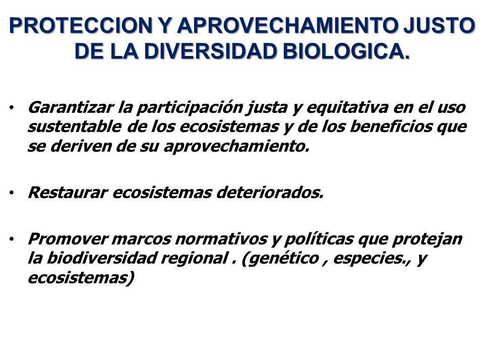 PROTECCION Y APROVECHAMIENTO JUSTO DE LA DIVERSIDAD BIOLOGICA. Garantizar la participación justa y equitativa en el uso sustentable de los ecosistemas