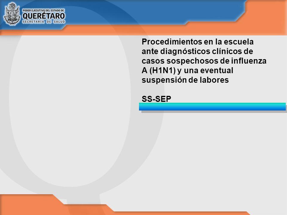 Procedimientos en la escuela ante diagnósticos clínicos de casos sospechosos de influenza A (H1N1) y una eventual suspensión de labores SS-SEP
