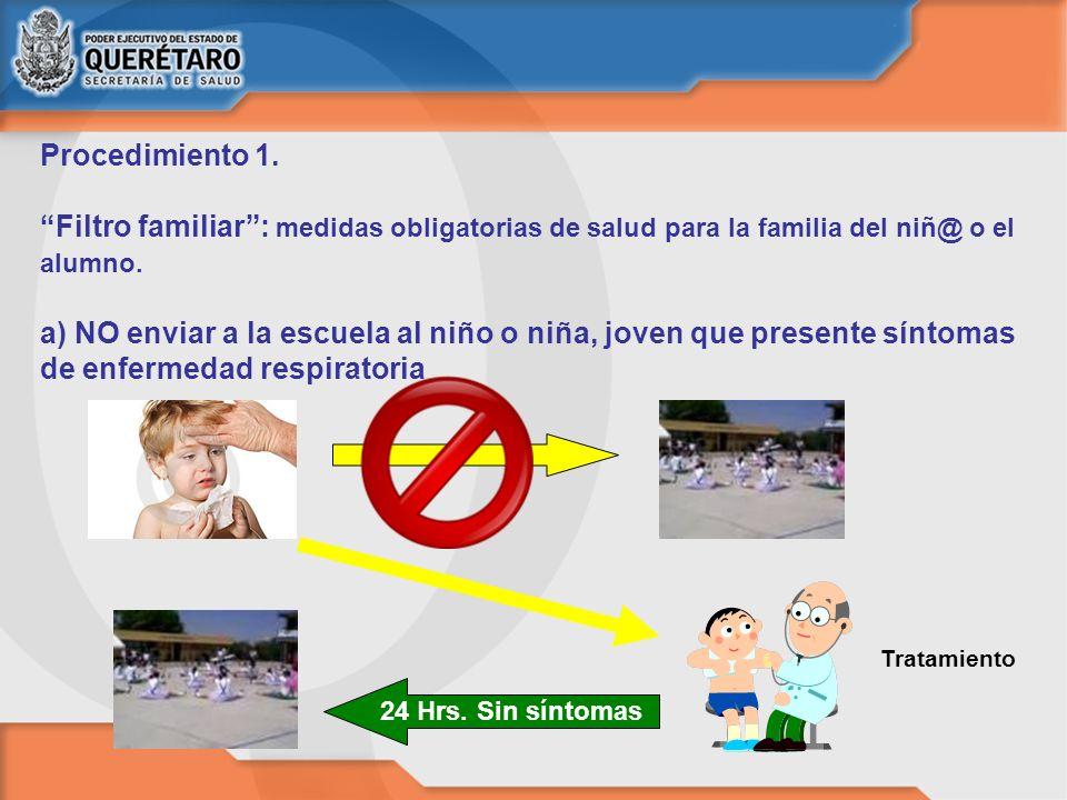 Procedimiento 1. Filtro familiar: medidas obligatorias de salud para la familia del niñ@ o el alumno. a) NO enviar a la escuela al niño o niña, joven