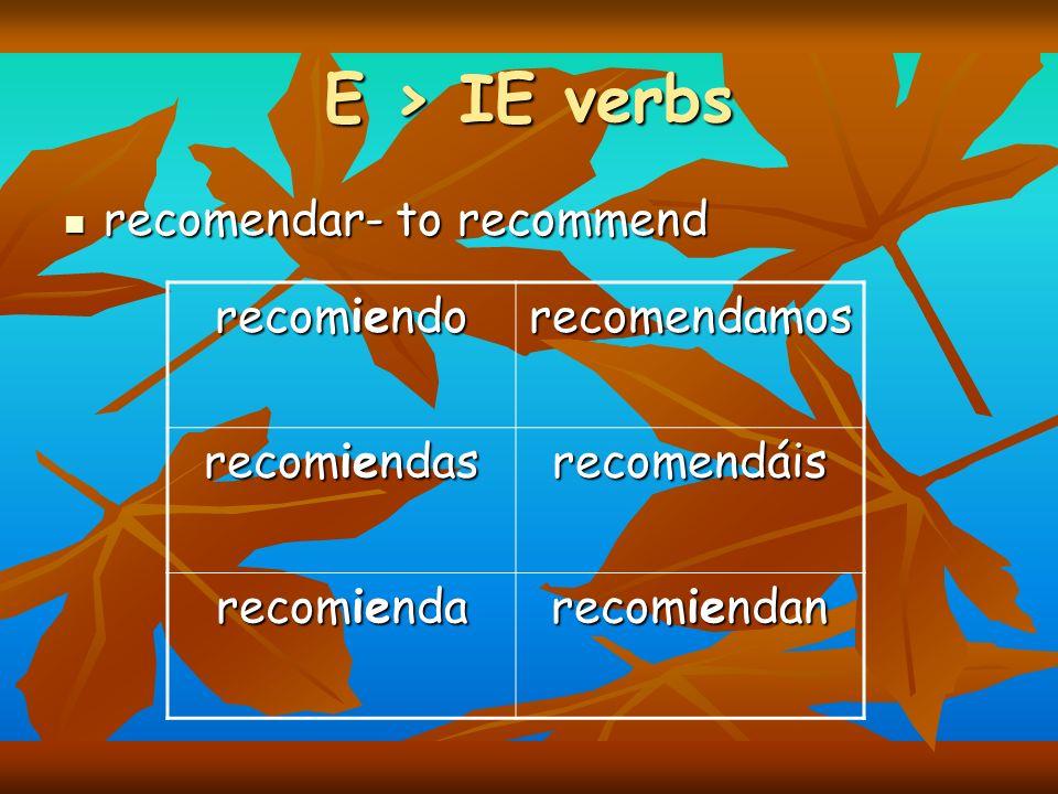 E > IE verbs recomendar- to recommend recomendar- to recommend recomiendo recomendamos recomiendas recomendáis recomienda recomiendan