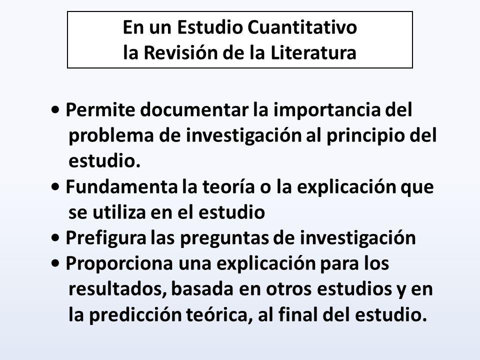 Permite documentar la importancia del problema de investigación al principio del estudio. Fundamenta la teoría o la explicación que se utiliza en el e