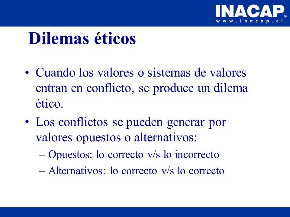Dilemas éticos Cuando los valores o sistemas de valores entran en conflicto, se produce un dilema ético. Los conflictos se pueden generar por valores