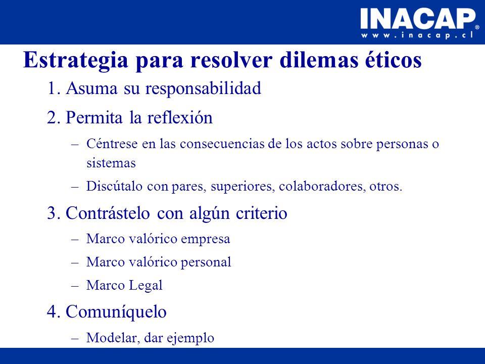 Estrategia para resolver dilemas éticos 1. Asuma su responsabilidad 2. Permita la reflexión –Céntrese en las consecuencias de los actos sobre personas
