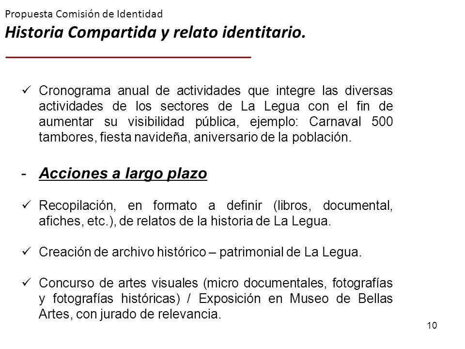 10 Propuesta Comisión de Identidad Historia Compartida y relato identitario. Cronograma anual de actividades que integre las diversas actividades de l