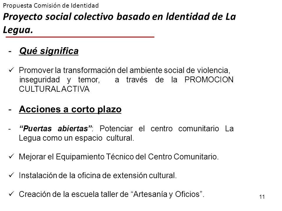 11 Propuesta Comisión de Identidad Proyecto social colectivo basado en ldentidad de La Legua. -Qué significa Promover la transformación del ambiente s