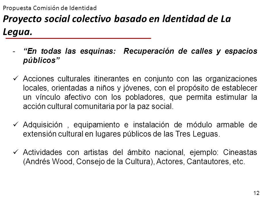 12 Propuesta Comisión de Identidad Proyecto social colectivo basado en ldentidad de La Legua. -En todas las esquinas: Recuperación de calles y espacio
