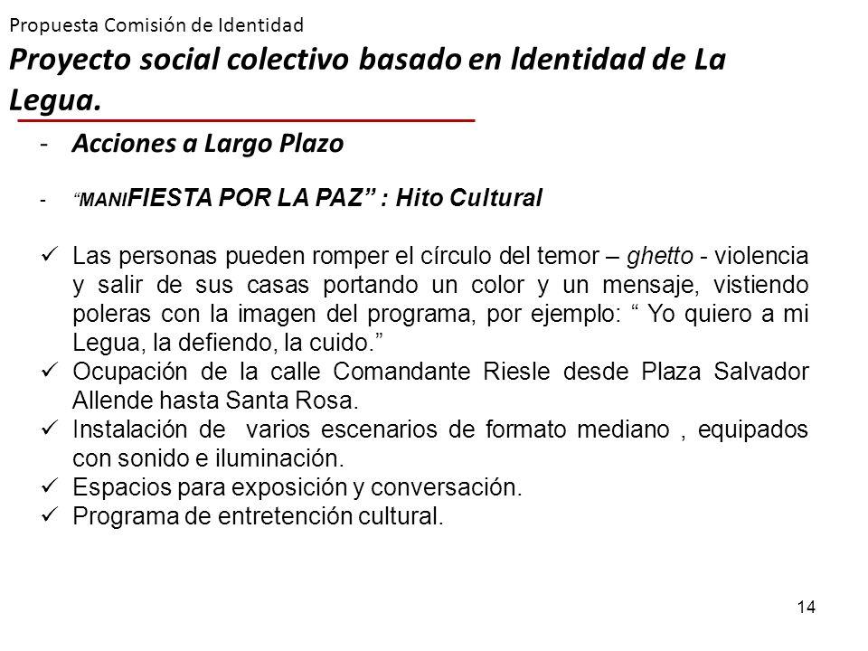 14 Propuesta Comisión de Identidad Proyecto social colectivo basado en ldentidad de La Legua. -Acciones a Largo Plazo -MANI FIESTA POR LA PAZ : Hito C