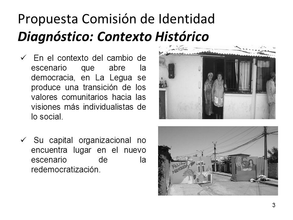 Propuesta Comisión de Identidad Diagnóstico: Contexto Histórico 3 En el contexto del cambio de escenario que abre la democracia, en La Legua se produc
