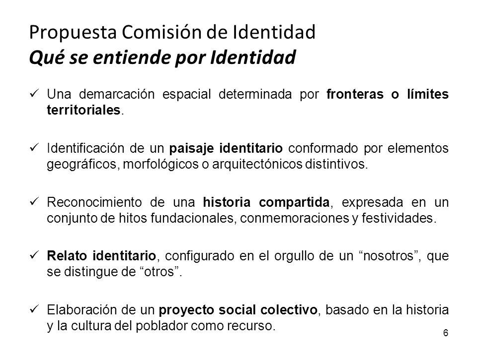 Propuesta Comisión de Identidad Qué se entiende por Identidad Una demarcación espacial determinada por fronteras o límites territoriales. Identificaci