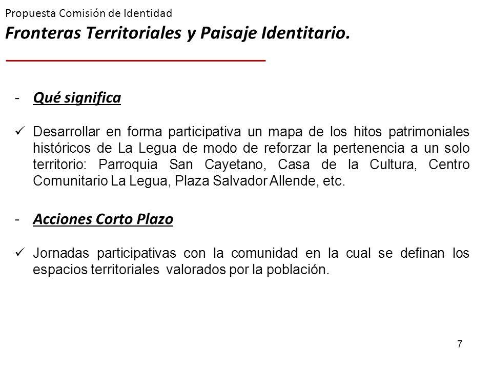 7 Propuesta Comisión de Identidad Fronteras Territoriales y Paisaje Identitario. -Qué significa Desarrollar en forma participativa un mapa de los hito