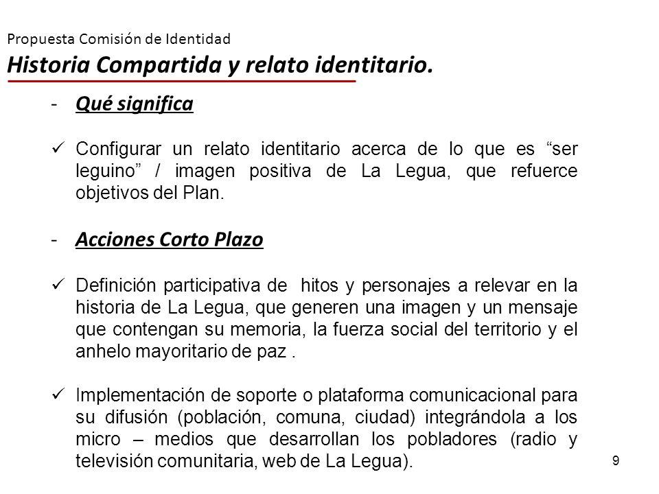 9 Propuesta Comisión de Identidad Historia Compartida y relato identitario. -Qué significa Configurar un relato identitario acerca de lo que es ser le