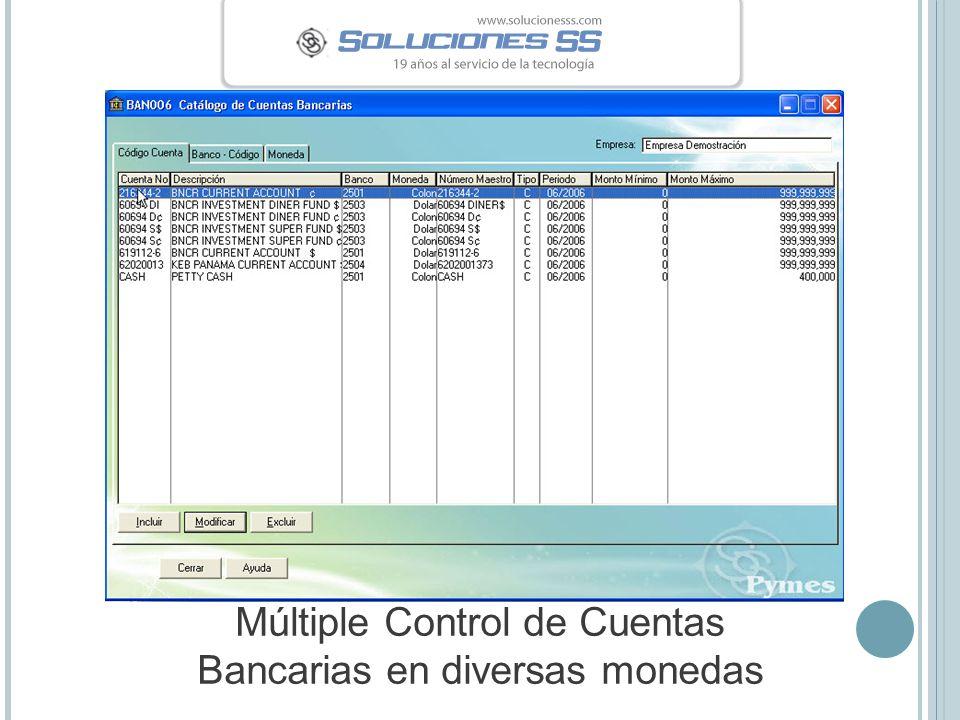 Múltiple Control de Cuentas Bancarias en diversas monedas