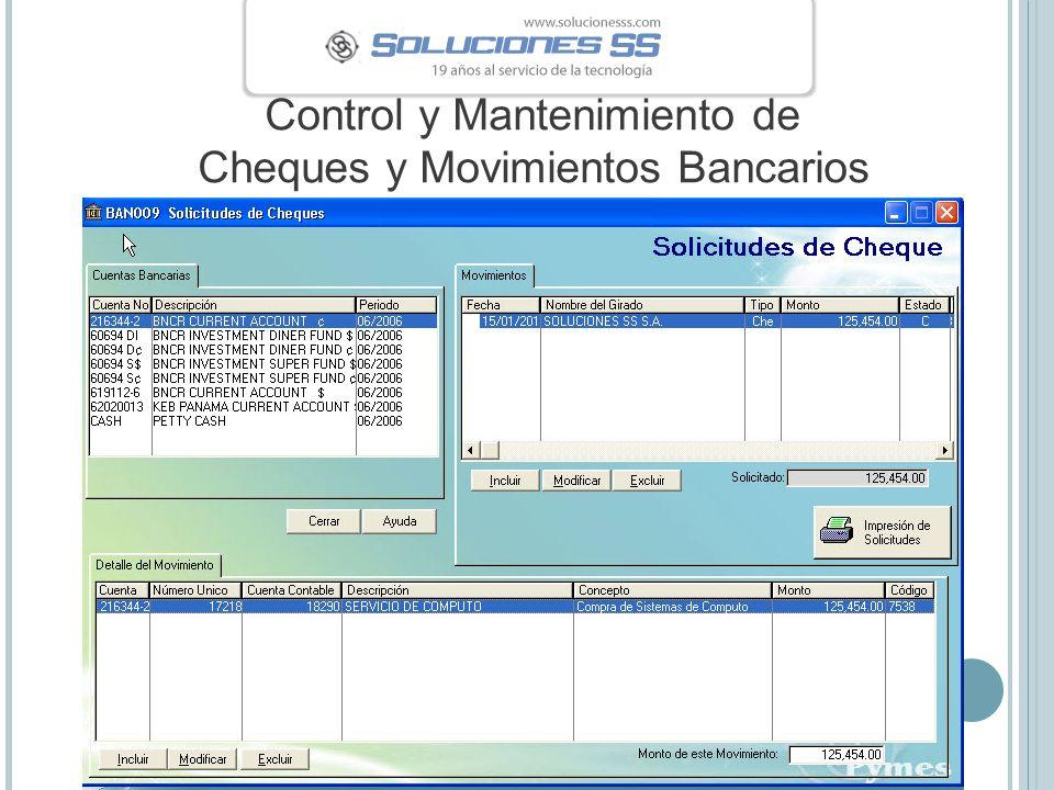 Control y Mantenimiento de Cheques y Movimientos Bancarios