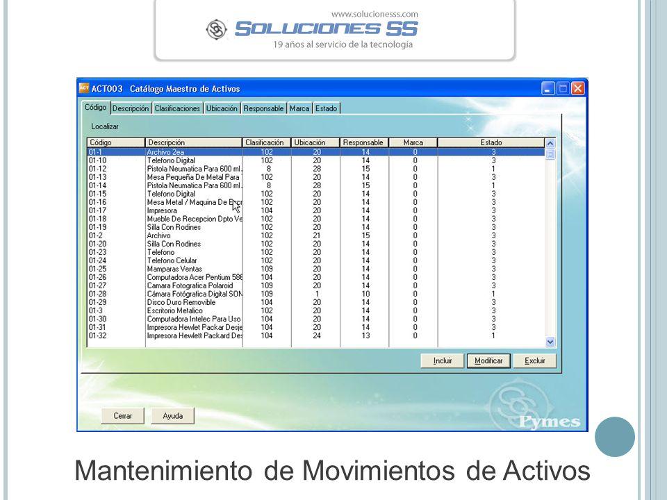 Mantenimiento de Movimientos de Activos