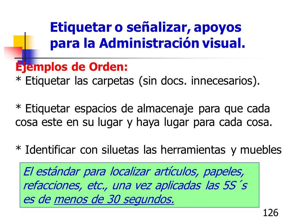 125 Seiton, la segunda S: Orden Objetivos: Ahorrar espacio Ahorrar tiempo de búsqueda Facilitar la administración visual