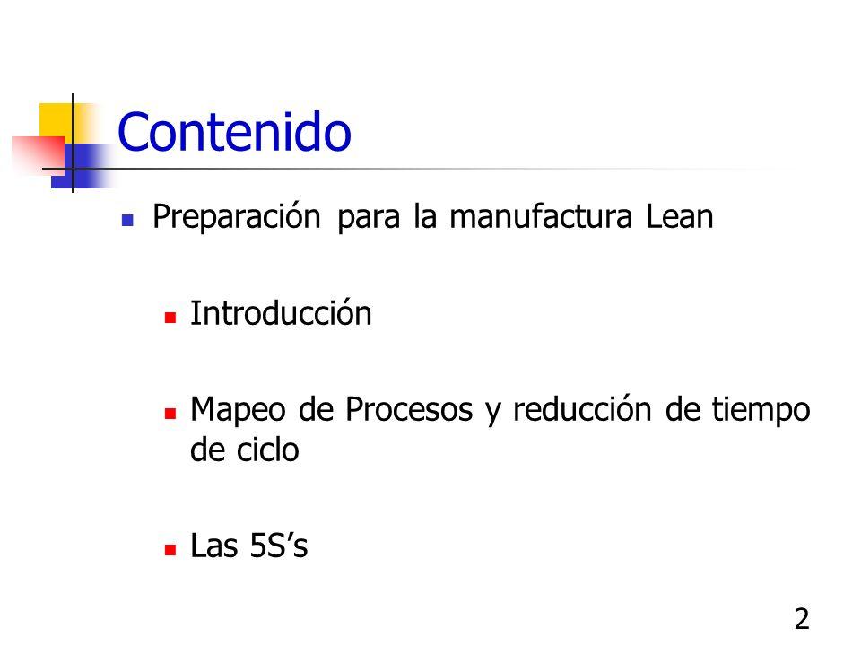 2 Contenido Preparación para la manufactura Lean Introducción Mapeo de Procesos y reducción de tiempo de ciclo Las 5Ss