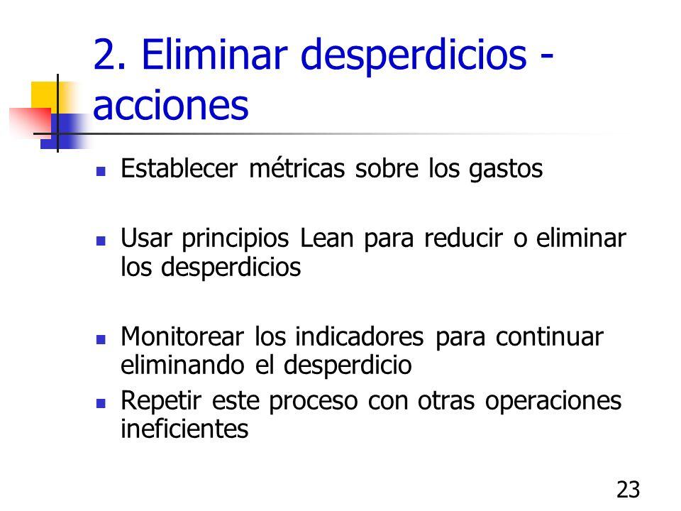22 2. Eliminar desperdicios - acciones Identificar operaciones ineficientes Identificar procesos asociados que requieren mejora, baja producción Hacer