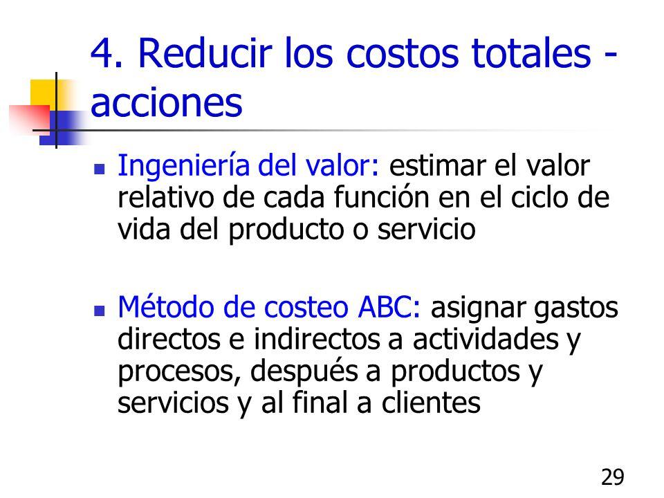 28 4. Reducir los costos totales Costos variables: varian en función del volumen, Materias primas, personal Costos fijos: se mantienen casi constantes