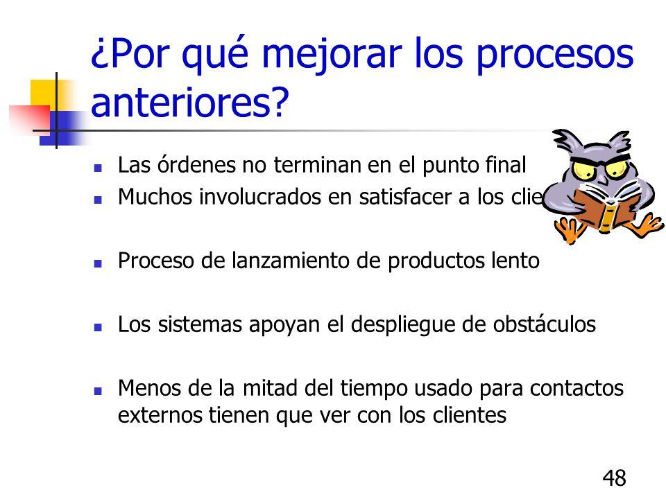47 ¿Porqué mejorar? Consistencia ante la vista del cliente Mejora de la posición competitiva Mayor satisfacción para el cliente Mejor atención a merca