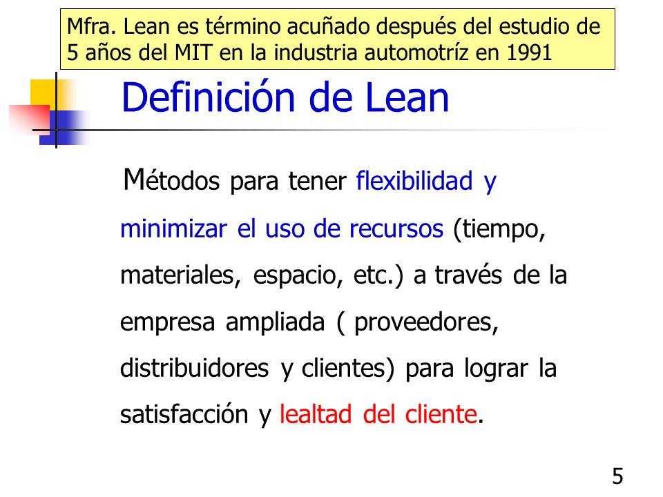 5 Definición de Lean M étodos para tener flexibilidad y minimizar el uso de recursos (tiempo, materiales, espacio, etc.) a través de la empresa ampliada ( proveedores, distribuidores y clientes) para lograr la satisfacción y lealtad del cliente.