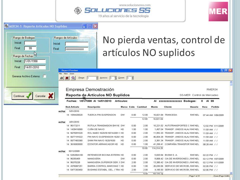 No pierda ventas, control de artículos NO suplidos