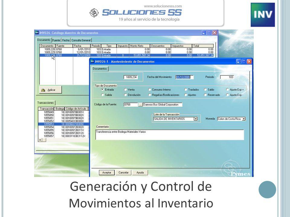 Generación y Control de Movimientos al Inventario