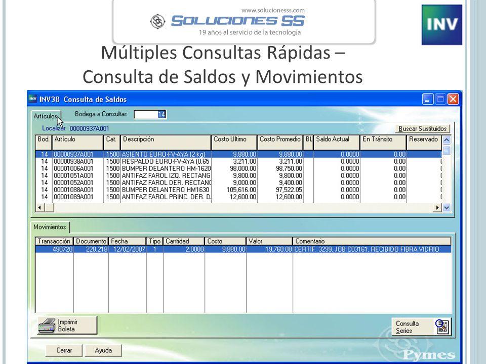 Múltiples Consultas Rápidas – Consulta de Saldos y Movimientos