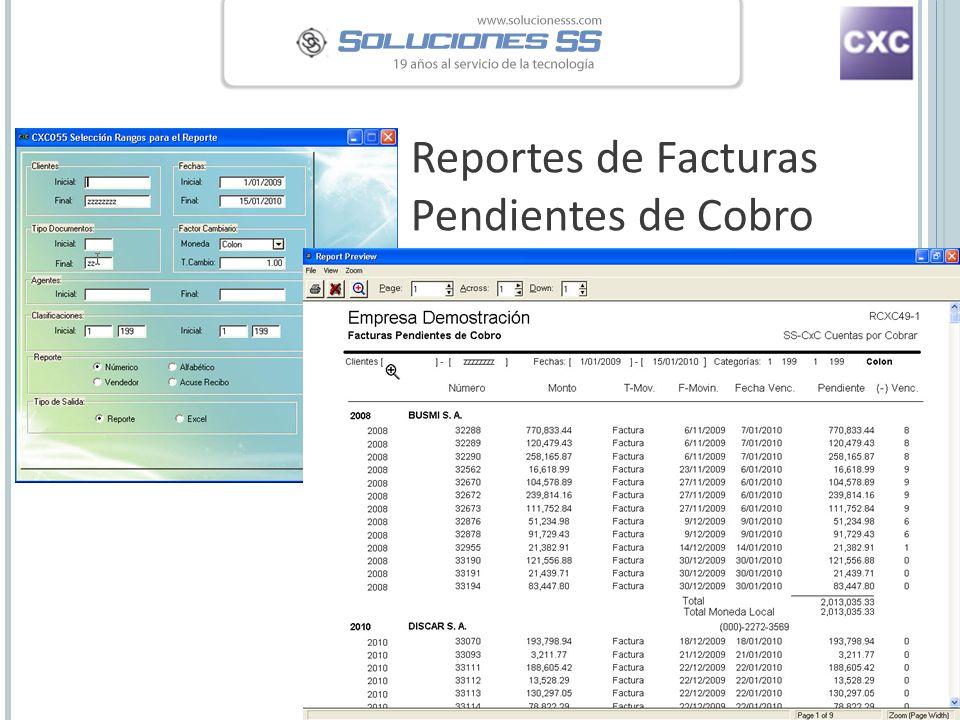 Reportes de Facturas Pendientes de Cobro